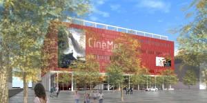 De toekomstige Cinemec Utrecht aan het Berlijnplein in Leidsche Rijn naar ontwerp van DP