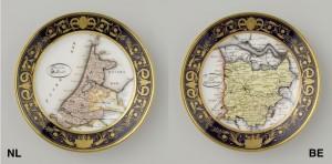Links: anoniem bord met decor van provincie Holland. Rechts: Anoniem bord met decor provincie Oost-Vlaanderen