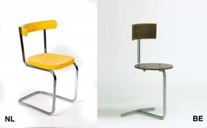 Links: Mart Stam stoel.Foto Tom Haartsen. Rechts: Gaston Eysselinck typistenstoel