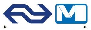 LInks: logo Nederlandse Spoorwegen. Rechts: Logo Brusselse Metro