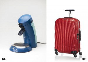 Links: Philips Senseo. Rechts Samsonite Cosmolite koffer