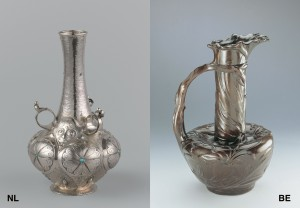 Links: Frans Zwollo vaas. Rechts: Philippe Wolfers vaas Les Lys