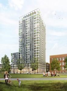 Toren 1 Overhoeks architect aul de Ruiter, impressie 3D studio Prins