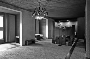 Woonkamer van het woonhuis (1962-67) te Schaijk van architect Jan de Jong: door de auteurs van het boek beschouwd als een van de meest indrukwekkende manifestaties van het plastische getal • Foto's Archiphoto Haarlem