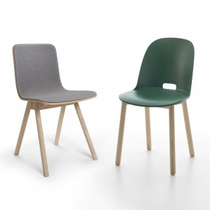 Hartverwarmend simpele stoeltjes van Jasper Morrison: Kali voor fabrikant Offecct en Alfi voor Emeco.