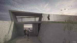 Waterdunen, een serie paviljoens in een nieuw recreatiegebied in de provincie Zeeland. Het duingebied wordt gebruikt voor waterzuivering.