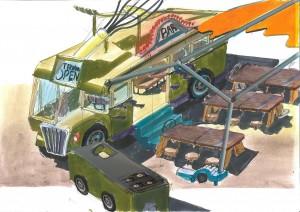 Wijkoken. Aandacht voor eten en je stad kennen, vergroten het geluksgevoel. Daarom ontwierpen studenten een bus met een mobiele keuken die mensen naar onbekende wijken brengt, waar samen met bewoners wordt gekookt en gegeten