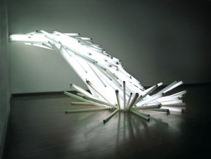 Oscar Santillan FAILED DAWN Sculpture 2008 110 fluorescent lights