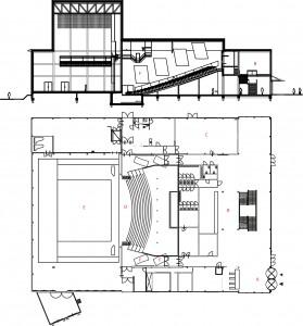 Plattegrond begane grond en doorsnede. A. Ingang. B. Foyer. C. Theatercafé. D. Zaal. E. Podium. F. Klankkaatsers.
