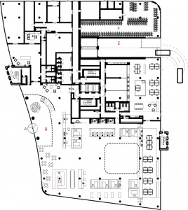Plattegrond begane grond. A. Ingang. B. Centrale hal. C. Receptie. D. Koffiehoek. E. In- en uitgang parkeergarage. F. Fietsenstalling.