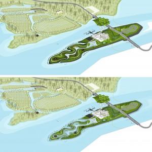 Het eiland bij +0,7 en +1,6 m NAP
