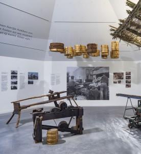 Interieur expositieruimte, waarin verteld wordt over de griend en rietcultuur van de Biesbosch