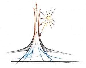 De zonnetoren is geïnspireerd op een termietenheuvel en heeft een ingenieus ventilatiesysteem.