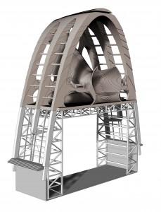 De stalen constructie van de fabriekshal met daarbovenop de gelaserde houten spanten. In de poten tussen de glasvlakken lopen de ventilatieschachten, geïntegreerd met de constructie