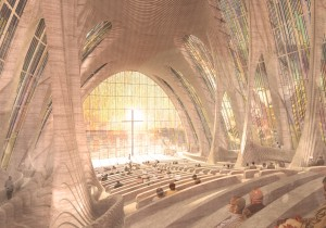 De spirituele wereld: Een representatieve, organische en geornamenteerde wereld met glas-in-lood en enorme sierlijke houten gewelven. Hier gaat het om de bezinning.