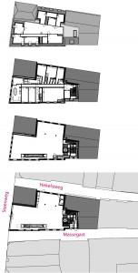 Plattegronden begane grond, eerste, tweede en derde verdieping.
