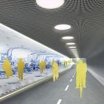 Tegeltableau zeegezicht in tunnel