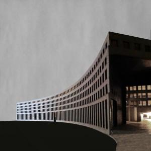17 Donna van Milligen Bielke - afsudeerontwerp voor nieuw stadhuis en opera:  Reversed Boogie Woogie -  Amsterdam, gevel Amstel