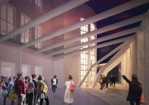 De ruimte aan de achterzijde van het gebouw krijgt een glazen overkapping, vanuit het atrium heeft men zicht op het trappenhuis met glaskunstwerk van Andries Copier