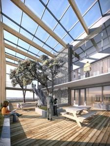 De kas op het dak dient als verblijfsruimte voor de ambtenaren en speelt een rol in de natuurlijke ventilatie in het gebouw. Foto:  Kraaijvanger Architecten