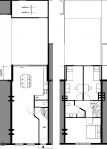 Plattegronden begane grond en verdieping.