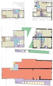 De plattegronden van de begane grond, eerste en tweede verdieping. Oranje: winkels, paars: entree/hal.