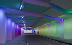 Lichtkunstwerken van Herman Kuijer in Kostverloren tunnel Zutphen. Foto Jannes Linders