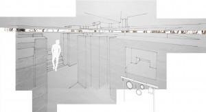 Visualisatie interieur Bunker 629 Haagse Bos, die horizontaal wordt doorgezaagd, verschoven en opgelicht.