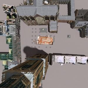 Het Domplein is ontstaan na instorting van het schip van de Domkerk. DOMunder is midden onder het plein gebouwd. Links is het UCK.