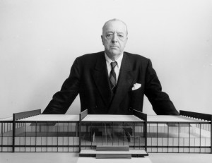 Architect Ludwig Mies Van der Rohe with an architectural model of Crown Hall at the Illinois Institute of Technology, Chicago, Illinois, June 11, 1954.