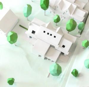 Nieuwe situatie Tuindorp, model woonhuis met aanbouw.
