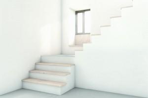 De contemplatieve plek op het eerste podium van de trap in de entreehal.
