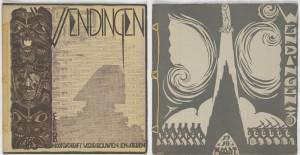 Omslagen van het tijdschrift Wendingen ontworpen door diverse ontwerpers: Links Michel de Klerk (nr. 2 1918). Rechts Hildo Krop (nr. 3, 1918). Foto: Erik & Petra Hesmerg.