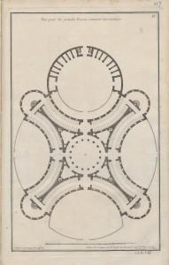Jean François de Neufforge, Plan pour des grandes Ecuries contenant deux manèges. 1757-1772