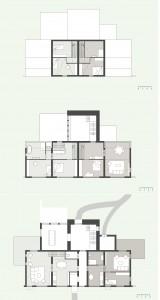 Plattegronden begane grond, eerste en tweede verdieping.