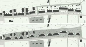 Huidige (boven) en nieuwe situatie Tuindorp Jekerdal, de arcering duidt het gemeenschappelijke gebied aan.