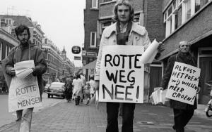 Protest tegen het dempen van de Rotte