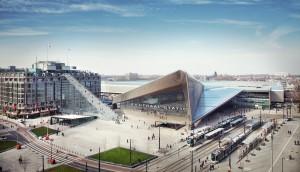 Stationsplein met tijdelijke trap naar dak Groothandelsgebouw Rotterdam MVRDV