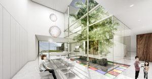 Bij het ontwerp van de villa in Teheran liet 123DV, het bureau van architect Liong Lie, zich inspireren door de Iranese (Perzische) bouwtradities. Zo zijn de verschillende ruimtes van de villa georganiseerd rond een binnenplaats of patio en komen de mozaïekpatronen van de lokale bouwstijl terug in de vorm van gekleurd, in de vloer van de binnenplaats