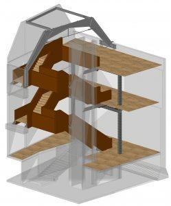 Constructietekening trap, De Groot Vroomshoop