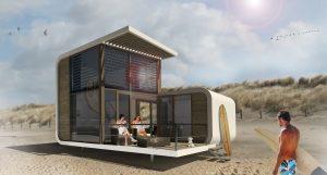 Strandslaaphuisjes bij Nieuwvliet. WTS architecten. Twee polyester schalen van verschillende afmetingen, zodat de zon over de lage schaal heen kan piepen. Twee terrassen, één aan de duinkant, zodat er privacy en zowel 's ochtends als 's middags zon is