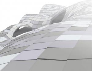 Geprinte elementen van gerecycled plastic vormen gevel en dak.
