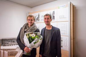 Maxime Faniel (l) en Romain Toussaint (r) wonnen met jhun afstudeerproject reMEMORE de 1e prijs EAP 2015