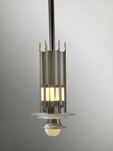 Verlichtingsornament voor Zeelandia, 1936, verchroomd metaal, glas, Koninklijke Zeelandia Groep b.v., Zierikzee.