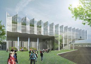 De entree met brede opgaande trap leidt naar het Stadstuinbouw Plein met bezoekersfaciliteiten.