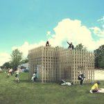 Houten recycelbaar paviljoen