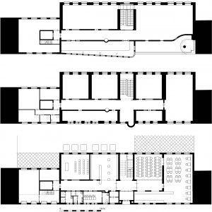 Begane grond, 1e en 2e verdieping. Zaal voor tijdelijke exposities op de 2e verdieping voorzijde.