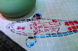 Handgeknoopt tapijt met Koikarper