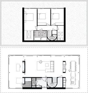 Plattegronden begane grond (8,5x18,5m) en verdieping (8,5x10,8m).