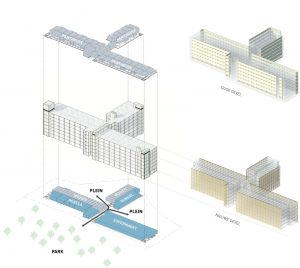 Transformatieplan diederendirrix voor Philips Lighting van kantoor tot woongebouw: strippen, nieuwe gevel, laag penthouses erop, indeling in lofts en in de plint commerciële ruimtes en een passage